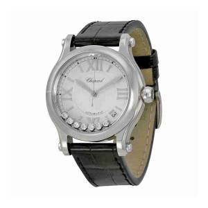 [ショパール]Chopard Happy Sport Medium Automatic Silver Dial Black Leather Watch 278559-3001