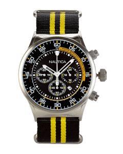 [ノーティカ]Nautica NST Chronograph Stainless Steel Case Black & Yellow Nylon Strap A18707G
