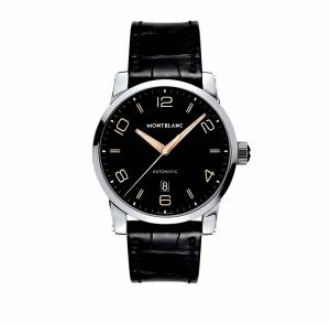 [モンブラン]MONTBLANC  Timewalker Automatic Black Dial Black Leather Watch 110337 メンズ
