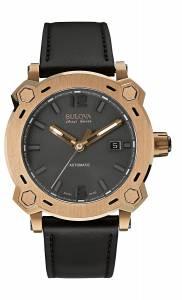 [ブローバ]Bulova  Stainless Steel and Leather Automatic Watch, Color:Black 64B129 メンズ