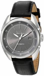 [ブローバ]Bulova 腕時計 Stainless Steel and Black Leather Automatic Watch 63B188 メンズ