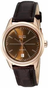 [ブローバ]Bulova  Stainless Steel and Leather Automatic Watch, Color:Brown 64B124 メンズ