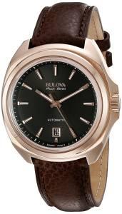 [ブローバ]Bulova  'Telc' Stainless Steel and Leather Automatic Watch, Color:Brown 64B126