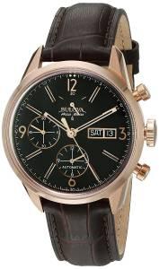[ブローバ]Bulova 'Gemini' Swiss Automatic Stainless Steel and Brown Leather Casual Watch 64C106