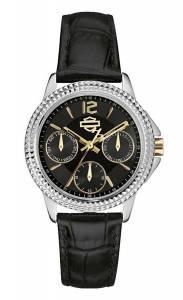 [ブローバ]Bulova  HarleyDavidson by Analog Multifunction Dial Watch Black Leather Strap 78N100
