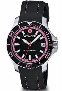 [ウェンガー]Wenger  Sea Force Swiss Made Analog Watch Black Silicone Strap 01.0621.108