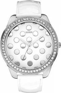 [ゲス]GUESS  Oversized White Dotty Dial Crystal Accented SS Case Leather Watch W0258L2