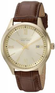 [ブローバ]Bulova  Quartz Stainless Steel and Leather Casual Watch, Color:Brown 44B109 メンズ