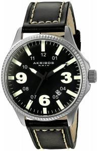 [アクリボス XXIV]Akribos XXIV  Analog Display Japanese Quartz Black Watch AK833GN メンズ