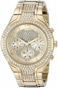 ゲスGUESS GUESS Women's U0628L2 Oversized Gold-Tone Multi-Function Watch with Genuine Crystals