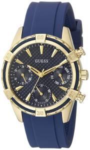 [ゲス]GUESS Iconic Indigo Blue & GoldTone MultiFunction Watch with Comfortable Silicone U0562L2