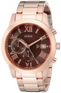 [ゲス]GUESS  Handsome Rose GoldTone Chronograph Watch with Brown Dial & Date Function U0668G1