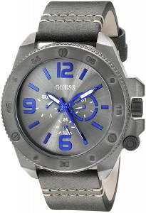 [ゲス]GUESS  Fashionable GunmetalTone Stainless Steel Watch with Grey Leather Band U0659G3