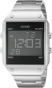 ゲスGUESS GUESS Men's U0596G1 Digital Display Silver-Tone Watch with Alarm, Dual Time Zone U0596G1