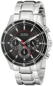 ゲス GUESS Men's U0676G1 Silver-Tone Chronograph Watch with Black Dial