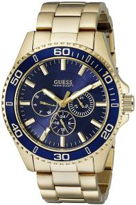 ゲスGUESS腕時計 GUESS Men's U0172G5 Gold-Tone Watch with Iconic Blue Multi-Function Dial