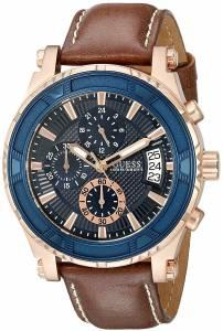 ゲスGUESS GUESS Men's U0673G3 Brown Chronograph Watch with Iconic Blue Dial & Date Function