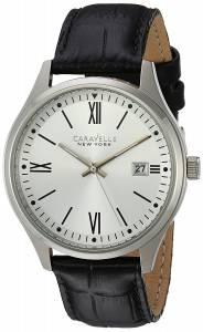 [ブローバ]Bulova  Quartz Stainless Steel and Leather Casual Watch, Color:Black 43B143 メンズ