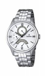 フェスティナ Festina Men's Quartz Watch with White Dial Analogue Display and Silver F16822/1