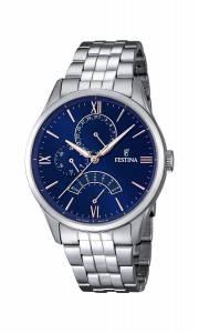 フェスティナ Festina Men's Quartz Watch with Blue Dial Analogue Display and Silver F16822/3