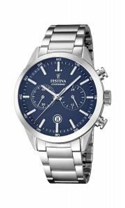 フェスティナ Festina Men's Quartz Watch with Blue Dial Chronograph Display and Silver F16826/2
