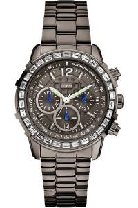 [ゲス]GUESS  STEEL ,Ladies Chronograph Gunmetal Tone,Stainless Steel bracelet,50m WR W0016L3