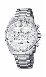 フェスティナ Festina Men's Quartz Watch with White Dial Chronograph Display and Silver F6835/1