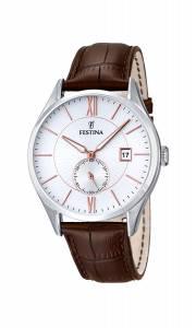 フェスティナ Festina Men's Quartz Watch with White Dial Analogue Display and Brown F16872/2