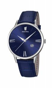フェスティナ Festina Men's Quartz Watch with Blue Dial Analogue Display and Blue F16824/3