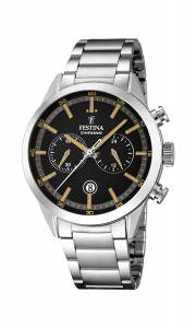 フェスティナ Festina Men's Quartz Watch with Black Dial Chronograph Display and F16826/4