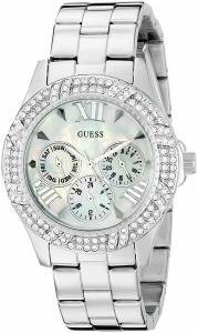 [ゲス]GUESS  Sporty SilverTone Watch with MultiFunction MotherofPearl Dial U0632L1