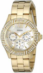 [ゲス]GUESS  Sporty GoldTone Watch with MultiFunction MotherofPearl Dial U0632L2 レディース