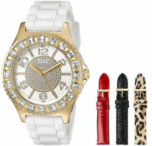 [ゲス]GUESS  GoldTone Watch Set with 4 Interchangeable Straps Inside a Bonus Travel Case U0714L2