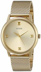 [ゲス]GUESS  Classic GoldTone Watch with Diamond Markers on a Mesh Band U0280G3 メンズ