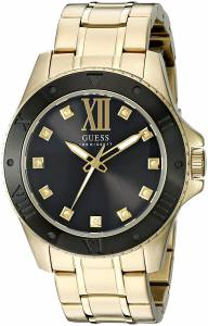 [ゲス]GUESS 腕時計 Strong GoldTone Watch with Black Dial and Diamond Markers U0721G2 メンズ
