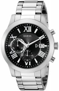 ゲスGUESS GUESS Men's U0668G3 Sporty Silver-Tone Watch with Black Chronograph Dial and U0668G3