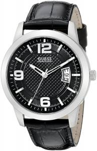 ゲスGUESS GUESS Men's U0494G6 Retro Silver-Tone Watch with Black Genuine Leather Strap and U0494G6