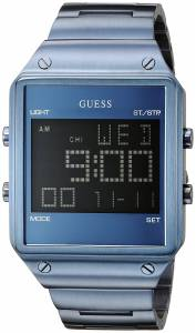[ゲス]GUESS Iconic Sky Blue Digital Watch with Alarm, Dual Time Zone and Chronograph U0596G4