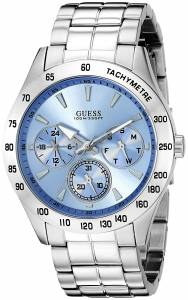 [ゲス]GUESS  Classic Sporty SilverTone Watch with Sky Blue MultiFunction Dial U0719G1 メンズ