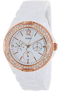 [ゲス]GUESS 腕時計 ,Women's All White,Rose GoldTone Bezel,50m WR W0062L6 [並行輸入品]