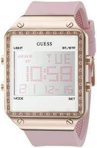 [ゲス]GUESS Digital Pink Silicone Watch with Alarm, Dual Time Zone and Chronograph U0700L2