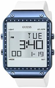 [ゲス]GUESS Digital White Silicone Watch with Alarm, Dual Time Zone and Chronograph U0700L3