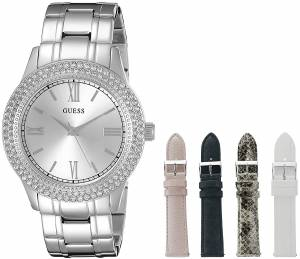 [ゲス]GUESS Luxurious SilverTone Watch Set with Metal Bracelet and 4 Interchangeable U0713L1