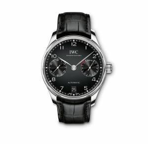 [アイダブルシー]IWC  Portugieser Automatic Black Dial Black Strap Watch IW500703 メンズ