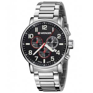 [ウェンガー]Wenger Attitude Chrono Stainless Steel Case and Bracelet Black Dial 01.0343.105