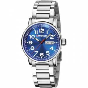 [ウェンガー]Wenger Attitude Day Date Stainless Steel Case and Bracelet Blue Dial 01.0341.105