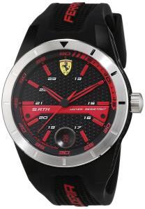 [フェラーリ]Ferrari  0830253 44mm Black Plastic Band & Case Mineral Watch Red Rev T メンズ