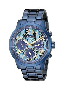 [ゲス]GUESS  Iconic Indigo Blue Python Print MultiFunction Watch U0330L17 レディース