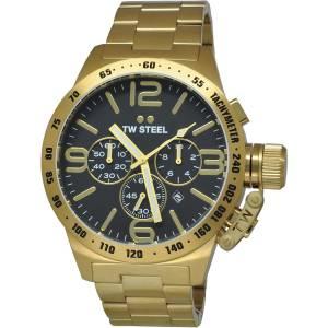 [ティーダブルスティール]TW Steel Stainless Steel Canteen Gold Bracelet Black Dial CB94
