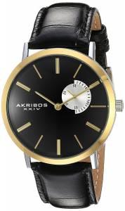 [アクリボス XXIV]Akribos XXIV Black Dial Gold Tone and Black Leather Two Tone Strap AK848YGB